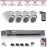 Hikvision 4ch DVR CCTV Kit Sistema de seguridad y 4x Sony 2,4MP CMOS TVI 1080P Full HD color...