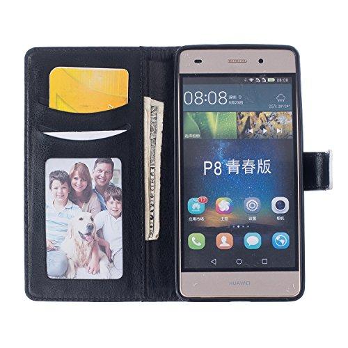 Leather Case Cover Custodia per iPhone 5 5S 5G / iPhone SE ,Ecoway Caso / copertura / telefono / involucro Modello retrò colorato del modello PU con a Bookstyle tasche carte di credito funzione con in piuma