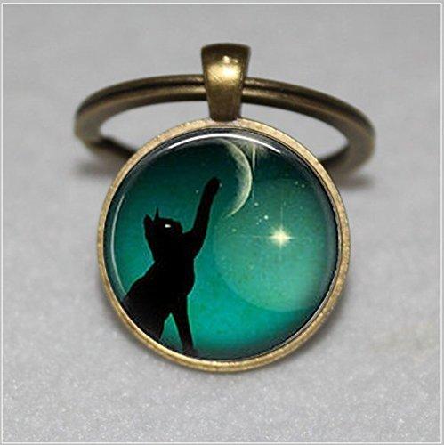 Schwarz Katze Schlüsselbund, Mond Foto Schlüsselanhänger, Kunst Schwarz Katze Schlüsselanhänger -