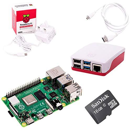 The Pi Hut Raspberry Pi 4 Starter Kit (4GB RAM, Red & White)
