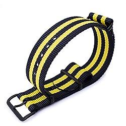 MiLTAT 20mm G10 Military Style NATO Watch Band, Nylon Strap, PVD Black, Black & Yellow