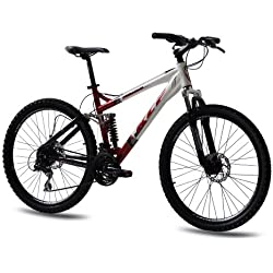 "26"" KCP MOUNTAINBIKE FAHRRAD RAD VORTEX ALU 4 LINK mit 24 Gang ACERA weiss rot - 66,0 (26 Zoll)"