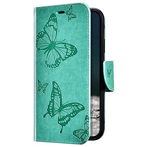 Uposao Kompatibel mit Huawei Honor 8A Hülle Vintage Dünne Handyhülle Schmetterling Muster Flip Brieftasche Schutzhülle Karte Halter Leder Hülle Case Ledertasche Ständer Klapphülle,Grün