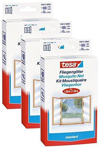 Confezione risparmio tesa 55672–00020–01zanzariera insect stop standard per finestra 1.3m x 1.5m, bianco (3)
