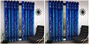 Home Sizzler 2 Piece Eyelet Polyester Door Curtain Set - 7ft, Blue & Shalimar Frill Panel 20 2 Piece Eyele