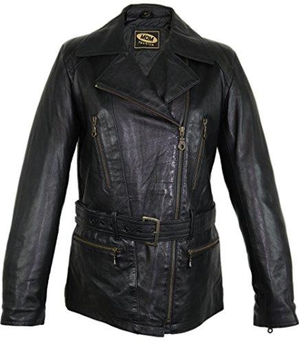 *Damen Motorrad Lederjacke leichtes und weiches Leder im 80 er Stil (2XL)*