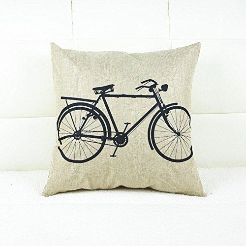 Algodón de lino Fundas de Cojines Decorativos Sofá Funda de Almohada Bicicleta Vintage (45 x 45 cm)