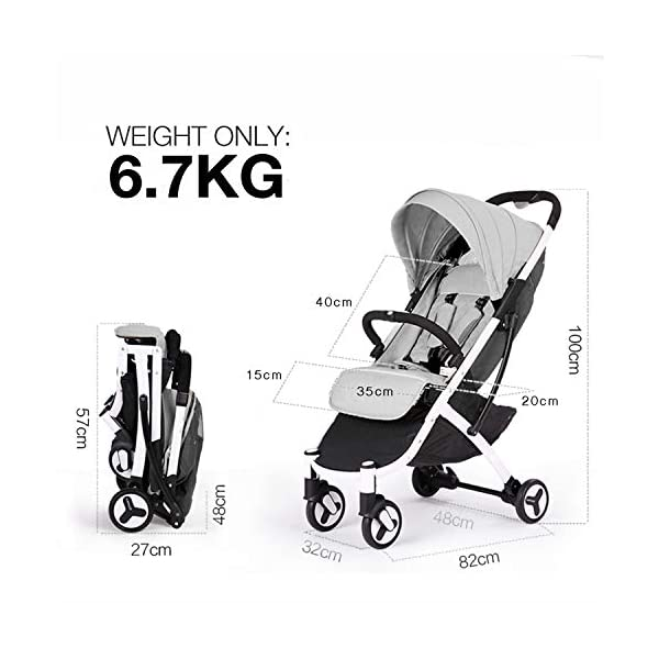 Allis Lightweight Stroller Baby Pushchair Buggy Travel Pram Plume - Grey Allis Baby Made according to British Standard EN1888 and Fire Safety Regulations 1988. Lockable 360 swivel wheels, removable and suspension, Peek A Boo window/ Recline Seat/ Lie-flat position From 6M (Upto 15Kg Approx). Lightweight 6.7Kg only, Easy to fold with one hand only 5