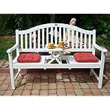 Gartenbank, Holzbank, Eukalyptusbank mit ausklappbarem Tisch Eukalyptus Holz FSC, weiß lackiert, 3-Sitzer Bank