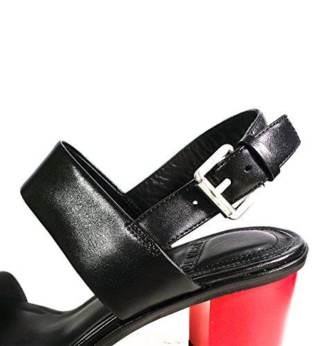 Calzature Donna WHAT FOR sandalo in pelle, tacco bottier di 8,5 cm a contrasto di colore, cinturino regolabile alla caviglia, suola in cuoio Nero
