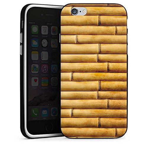Apple iPhone X Silikon Hülle Case Schutzhülle Bambusmatte Bambusrohre Look Muster Silikon Case schwarz / weiß