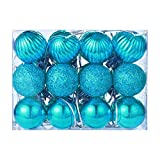 Pottoa Weihnachtskugeln,24 StüCke 30Mm Weihnachten Weihnachtsbaum Ball Flitter HäNgen Home Party Ornament Decor Christbaumschmuck Ball