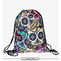 NobleQueen 2017 Beautiful Fashion 3D Printing Backpack Unicorn Pattern Women Drawstring Bag (Mexican Skulls)