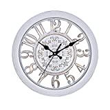 ZREAL 3D Circolare Retro Vintage Roman Hollow Out Große Wanduhr Home Room Decoration weiß
