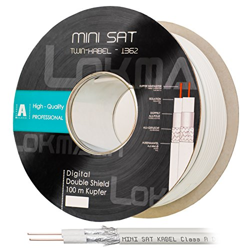 HB Digital 100m Koaxial Twin-SAT Kabel Reines KU Kupfer Klasse A Weiß extra dünn 4,6mm Ø A Class Koax Kabel Antennenkabel 100dB 2-Fach geschirmt für DVB-S / S2 DVB-C doppelt dual 2-Fach Vollkupfer - Mini Koaxial-video-kabel