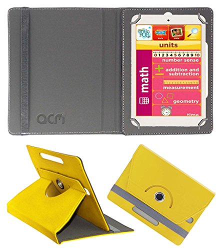 Acm Rotating 360° Leather Flip Case for Eddy Kids Learning Tab Cover Stand Yellow  available at amazon for Rs.149