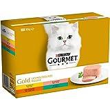 GOURMET Gold Les Mousselines (Poulet, Rognons, Saumon, Lapin) Lot de 8 (96 Sachets Fraicheurs)
