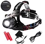Siensync LED Kopflampe, 1800 Lumen CREE XM-L2 Kopflampe Wasserdicht 5 Modi Taschenlampe mit Akkus Ladegerät USB Kabel für Outdoor Riding Jagd Wandern Camping