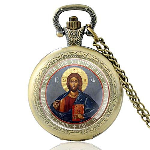 Vintage Bronze Orthodoxes Christentum Quarz Taschenuhr Klassische Männer Frauen Anhänger Halskette Geschenk