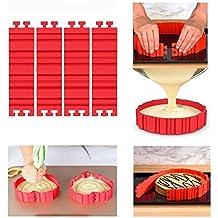Juego de molde de silicona Moldes, tarta, Cake Mould, Magic Bake Snake, corazón forma redonda con cuadrados flores Números Letras, forma de silicona flexible para tartas fondant Muffin (4pcs)