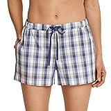 Schiesser Damen Schlafanzug Mix & Relax - frei kombinierbar - Hose kurz oder lang - Shirt kurzarm oder langarm (38, Hose kurz - blau-grau kariert)