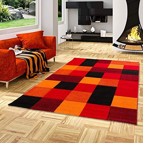 Brilliant - Alfombra Diseño - Motivo Cuadros - Rojo