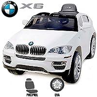 Coche eléctrico para niños BMW X6 de Babycoches, con LICENCIA OFICIAL BMW, mando parental, 12 V, monoplaza, ruedas caucho, asiento polipiel. Color BLANCO