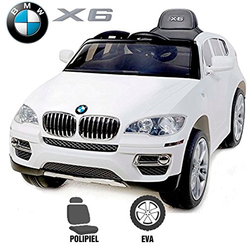 Babycoches Coche eléctrico para niños BMW X6, LICENCIA OFICIAL BMW, mando parental, 12 V, monoplaza, ruedas caucho, asiento polipiel. Color BLANCO