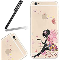 Ukayfe Custodia per iPhone 6, cassa sottile sveglio per il iphone 6, TPU Crystal Clear antigraffio con la farfalla Fata Fiore Angel Girl Cover posteriore per Apple iPhone 6/ 6S (4.7