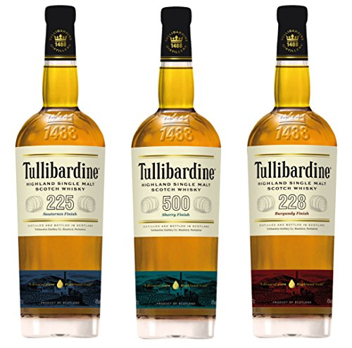 Tullibardine Whisky-Kollektion Single Malt Whisky (3 x 0.7 l) (Burgundy Finish)