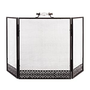 Glass Handled Fire Mesh Panel Fireplace Guard Spark and Flame Safety Screen