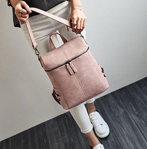 Dairyshop Sacchetti di scuola dello zaino della cartella delle donne di modo i sacchetti di spalla di corsa del cuoio del faux (Khaki) Rosa