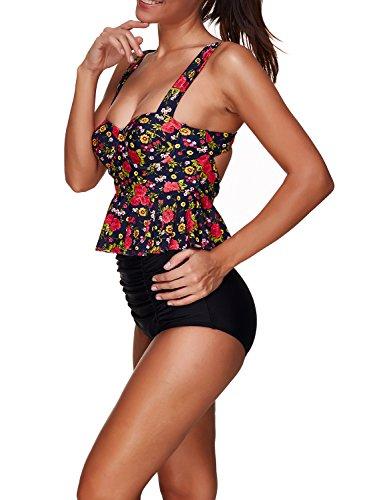 Azue Damen Frauen Mädchen Hoch Taille Zweiteilig Pinup Vintage Floral Bauchweg Bikini Set Bademode Badeanzug Rot Blümchen und Schwarz