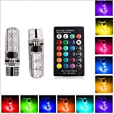 #3: Leebo 2PC T10 LED RGB Canbus Car Interior Fancy Side Wadge/Parking Remote Control Light ( Free 1 Pair Parking Led White) for Maruti Suzuki Baleno