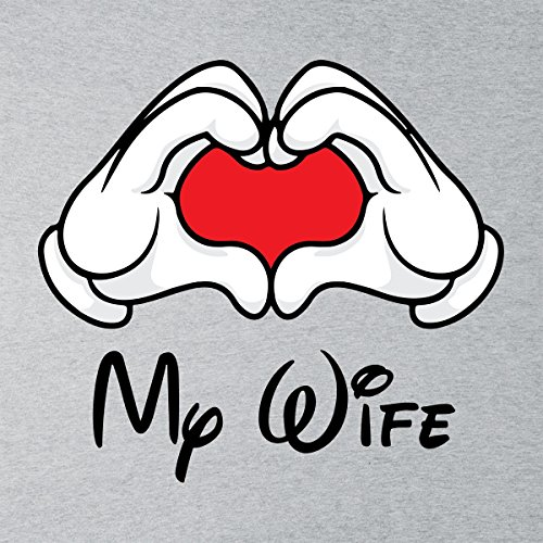Mickey Mouse Hands Love My Wife Women's T-Shirt Heather Grey