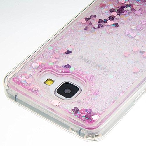 3D Étui soft shell coque pour Samsung Galaxy A5 (2016) A510F A5100 TPU coque soft shell couvercle de batterie étui coque de protection eau avec Design boule de neige étoile en rose clair transparent +Bouchons de poussière (15UU)