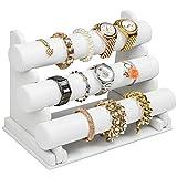 TecTake 3er Schmuckständer Schmuckhalter Armbandständer Kunstleder - weiß -