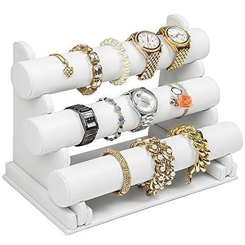 TecTake Porte-bracelets et montres Présentoir à bijoux 3 barres - blanc -