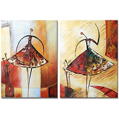 Raybre Art® 100% Pintado a Mano sobre Lienzo Nuevo Cuadros Modernos Abstractos Arte Pared Pinturas al óleo Grandes Bailarina Danza Para Decoración Hogar Sala Cocina, Sin Marco (Dos