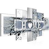 Bilder Home Herz Wandbild Vlies - Leinwand Bild XXL Format Wandbilder Wohnzimmer Wohnung Deko Kunstdrucke Grau 5 Teilig - MADE IN GERMANY - Fertig zum Aufhängen 504552c
