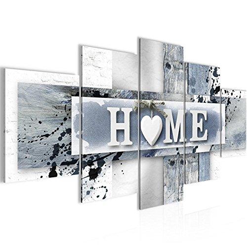 Bilder Home Herz Wandbild Vlies - Leinwand Bild XXL Format Wandbilder Wohnzimmer Wohnung Deko Kunstdrucke 100 x 50 cm Violett 5 Teilig -100% MADE IN GERMANY - Fertig zum Aufhängen 504552c