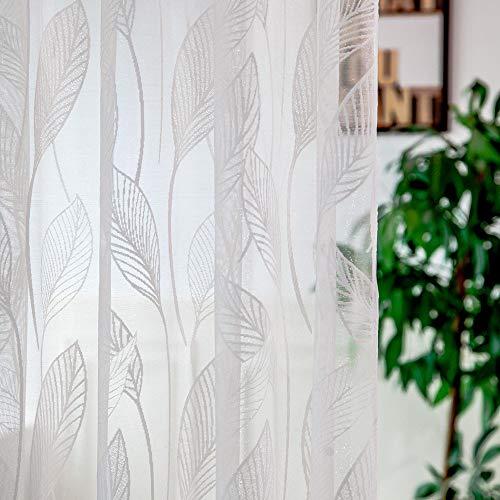 Tianya Kette Silber Blatt Größe 1 PC Tüll Tür Fenstervorhang Drapieren Panel Schiere Schal Volants - Jacquard-nacht-licht
