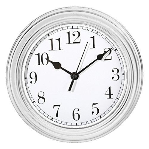 Wanduhr Küchenuhr Uhr Nostalgie Landhaus antik Classic Büro 22 cm Rund (Weiß)