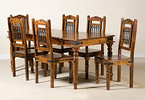 IndianHub Six Seater Dining Table Set (Brown)