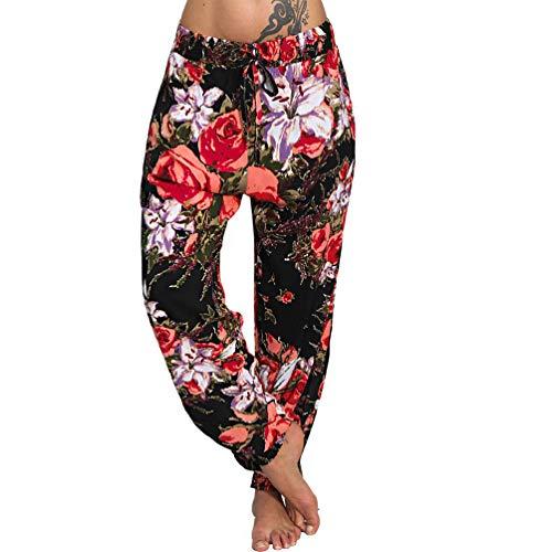 Leichte Sommer Hose Harem Aladin Pailsey Elefant bunt Freizeit Ali Baba Pumphose Blumen A/13 (A2 Rot, 36/38 S/M) - Blumen-pumphose