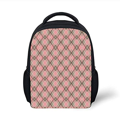 Kids School Backpack Abstract,Old Checkered Tartan Pattern Scottish Royal Folk Culture Stripes Ethnic Image,Taupe Coral Plain Bookbag Travel Daypack