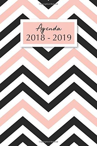 Agenda 2018-2019: Agenda Scolaire de Juillet 2018 à Août 2019, Semainier simple & graphique, motif chevrons rose et noir par YesOuiPages