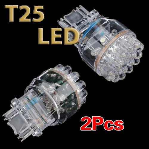 SODIAL(R) 2x T25 3157 3057 W21 / 5W blanc voiture 24 LED SMD Arret Queue Frein Ampoule Lampe 12V