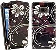 kwmobile Flip Case Hülle für Samsung Galaxy S2 - Kunstleder Schutzhülle Blumen Swirl Design Tasche im Flip Cover Style in Weiß Schwarz