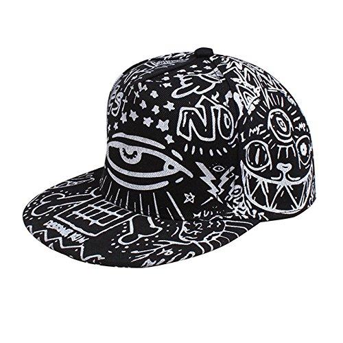 ti Gedruckt Baseball Mütze Hippie Snapback Einstellbar Hip-Hop Spitze Mütze (Schwarz) (Hip-hop-kostüme Für Jungen)